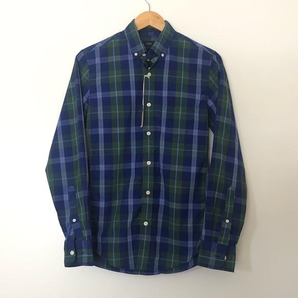 NWT J. Crew Men's Tailored Slim Fit Blue Shirt XS